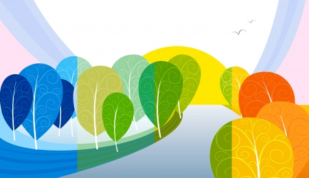 Landscape - trees on winter, spring, summer and autumn Stock Vector - 15312921