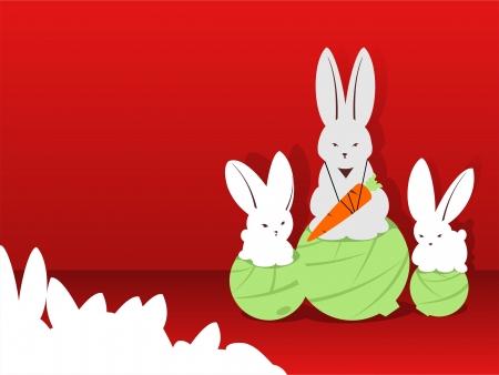 main part: On a pedestal a rabbit the champion Illustration