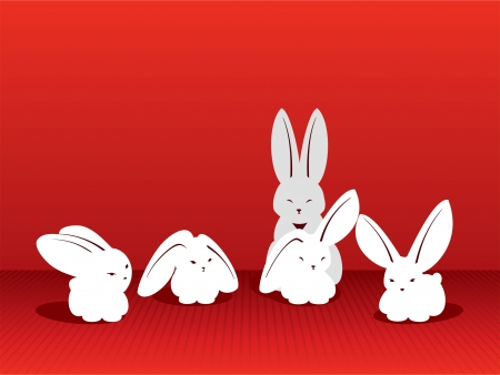 Five White rabbits on a red background for advertizing