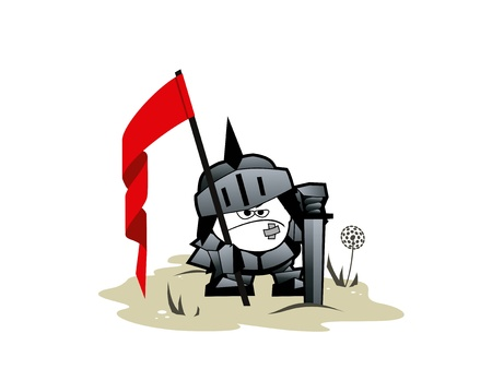 The funny paladin with a flag and sword Illustration