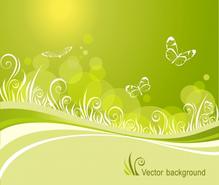 background with a grass and butterflies Vector