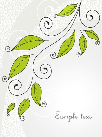 Background with leaves and curls.