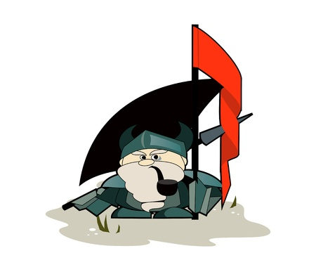 The funny dwarf with a flag and axe
