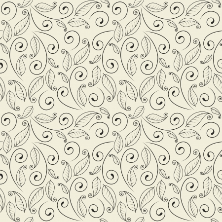 Seamless wallpaper with leaves and curls.  Illustration