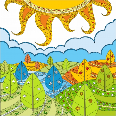 Solar landscape - the nature in the spring, in the winter, in the autumn and in the summer. Vector
