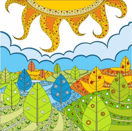Solar landschap - de natuur in het voorjaar, in de winter, in de herfst en in de zomer. Stock Illustratie