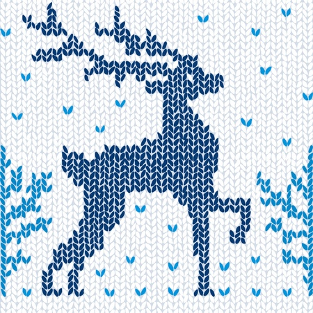 knitted: Knitted seamless background with a deer.