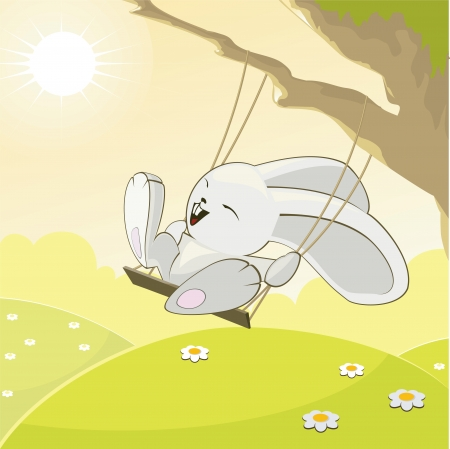 The funny rabbit on a swing in the sunny day. Illustration