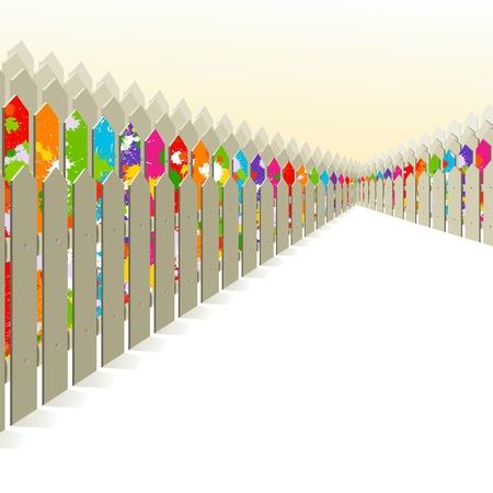 qualitative: Bright fence among the gray.