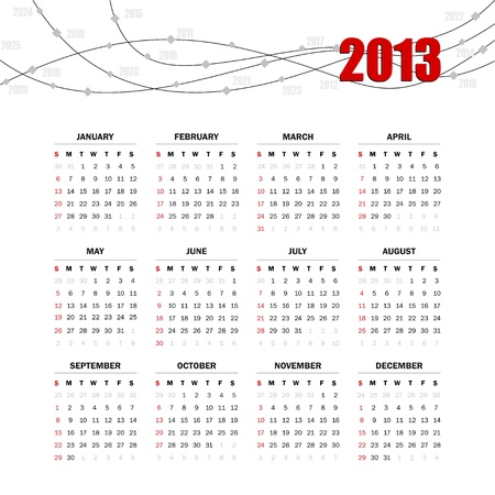 Calendar grid for 2013 Stock Vector - 15644752
