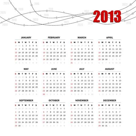 Calendar grid for 2013 Stock Vector - 15644752