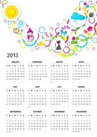 Calendar for 2013 Stock Vector - 15644717