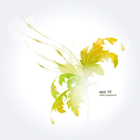 Light green background with leaves  イラスト・ベクター素材