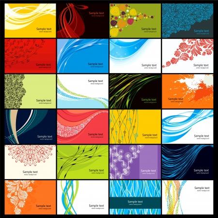 24 sjablonen van abstracte horizontale visitekaartjes Stock Illustratie
