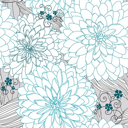 Seamless texture with blue flowers  イラスト・ベクター素材