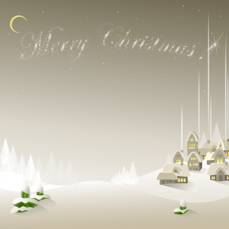Easy New Years background with the village and fir-trees
