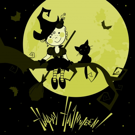 Card with the funny witch and a cat Vector