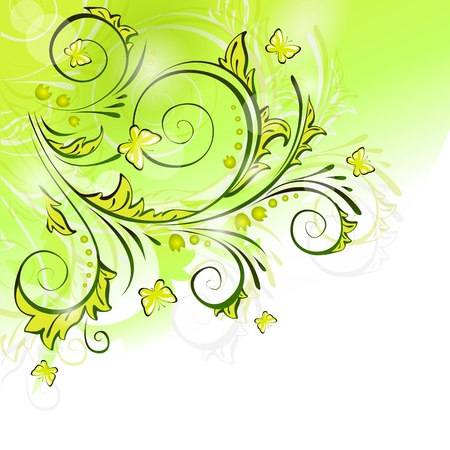 Light spring background with butterflies Illustration