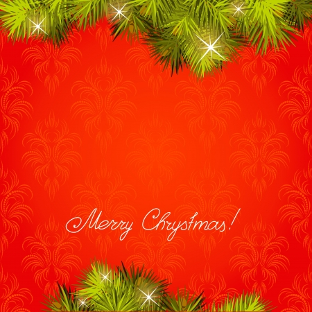 Red background with a New Year tree Vector