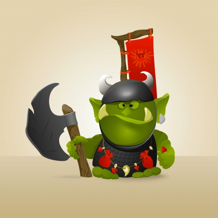 ogre: Funny great warrior ork. A vector.