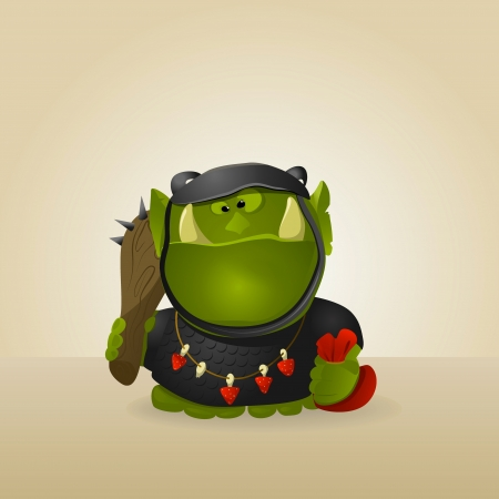 Funny orc warr. Very hungry. A vector. Stock Vector - 15704214