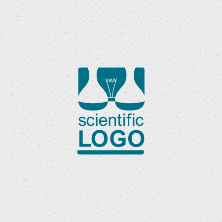 Scientific logo with a bulb and chemical flasks. Illustration