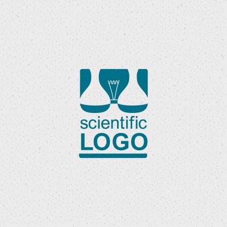 Wetenschappelijke logo met een gloeilamp en chemische kolven. Stock Illustratie