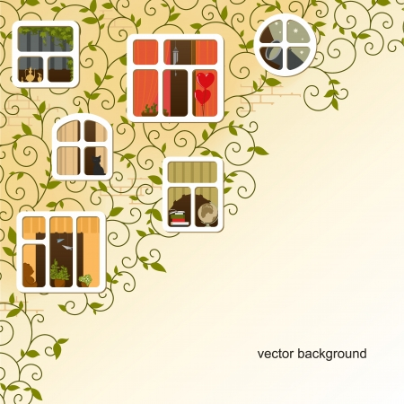 cosiness: Vector background - a wall of the house and various warm windows