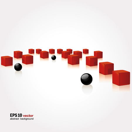 differs: Background with red cubes and black spheres. A vector.