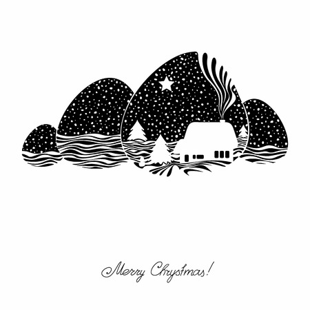 firtrees: Two-color background with a lodge and fir-trees. Vector. Illustration