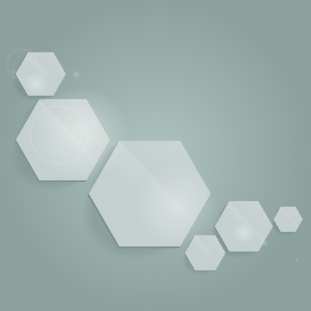 Abstract composition with hexagons.  Vector.  Illustration