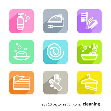 bath time: Set of icons - cleaning