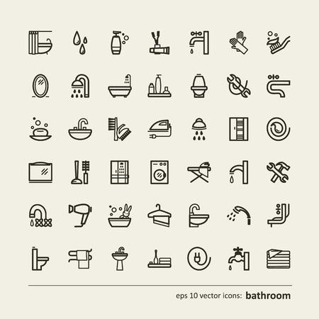 cabine de douche: Ensemble d'ic�nes - salle de bains. Un vecteur.