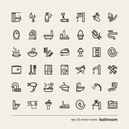 cleaning bathroom: Set of icons - bathroom. A vector.