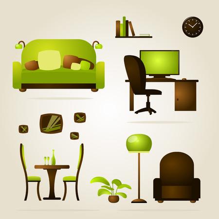 mobiliario de oficina: Muebles de la casa y la oficina. Vector. Vectores