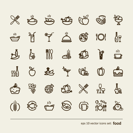 soup and salad: Food. Set of abstract pictures. A vector.