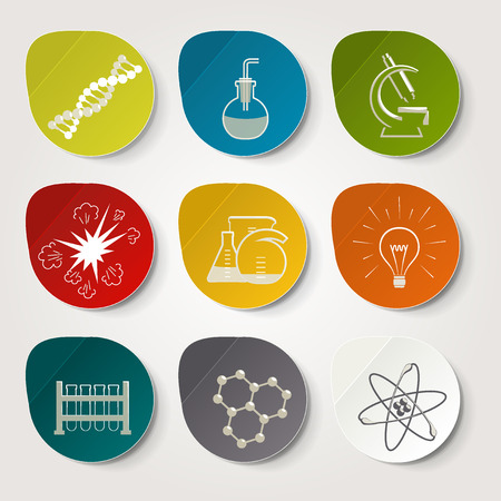 researches: Science. Set of pictures - chemistry. A vector.