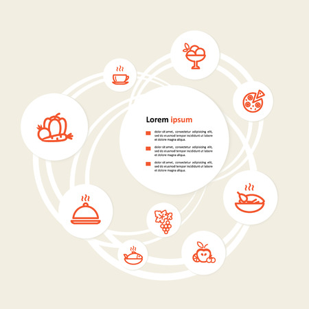 Background with icons - the menu. A vector.  Illustration