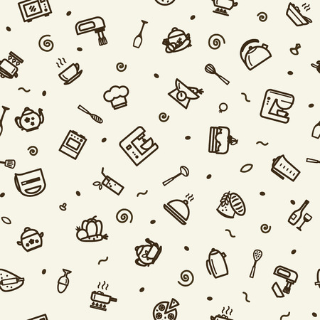 Seamless texture with icons - kitchen. A vector.