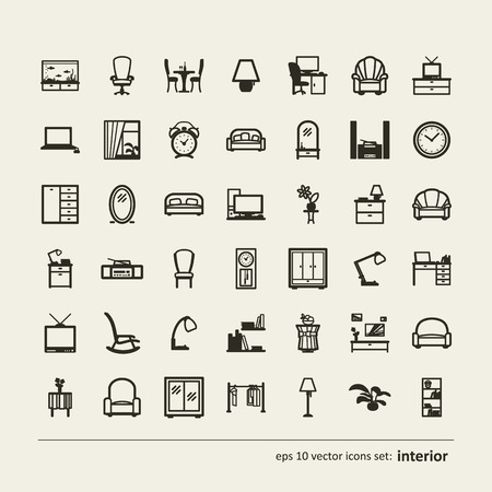 dresser: Interior. Set of abstract pictures. A vector.
