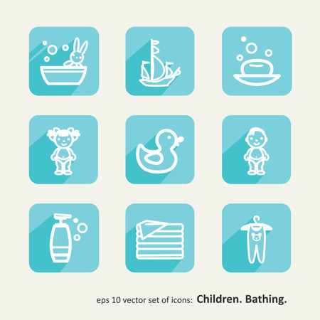 romper suit: Children. Bathing. Set of icons.