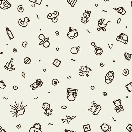 Seamless texture with icons - children, nursery. A vector.