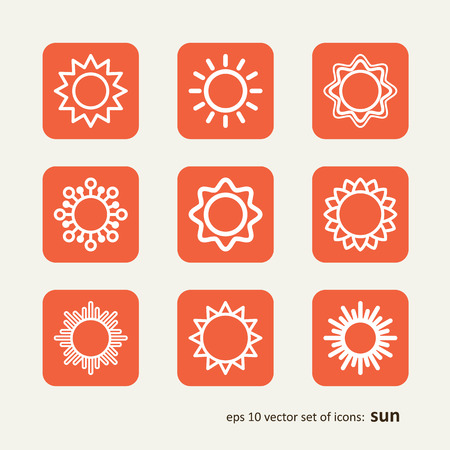 warmly: Set with icons - the sun. A vector.
