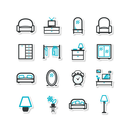 common room: Set of icons - home interior, drawing room Illustration