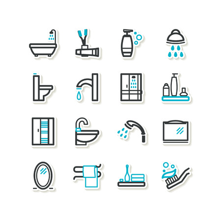 Set of icons - bathroom Vector