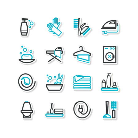 common room: Set of icons - cleaning