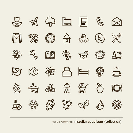 miscellaneous: Set - miscellaneous icons (collection). A vector.