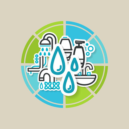 �ollage with icons - a bathroom equipment, repair. A vector. Vector
