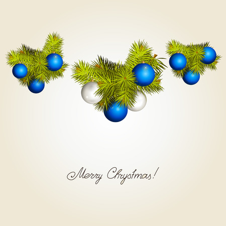 Fir-tree branches with New Years balls. Vector. Illustration