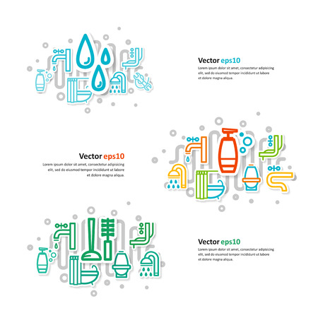 kanalizacja: Collage with icons - a bathroom equipment, repair. A vector. Ilustracja